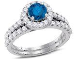 1 7/8 Carat (H-I, I2-I3) Blue Diamond Engagement Ring Bridal Wedding Set in 14K White Gold