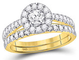 1.30 Carat (ctw G-H, I1) Halo Diamond Engagement Ring Bridal Wedding Band Set 14K Yellow Gold