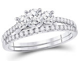 1.00 Carat (ctw G-H, I1) Three Stone Diamond Engagement Ring Bridal Wedding Band Set 14K White Gold