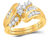 1/2 Carat (ctw H-I, I1-I2) marquise Diamond Engagement Ring Bridal Wedding Set in 14K Yellow Gold