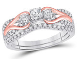 5/8 Carat (ctw H-I, I1-I2) Three Stone Diamond Engagement Ring Bridal Wedding Set in 10K White and Rose Gold