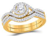 5/8 Carat (ctw G-H, I1-I2) Diamond Engagement Spiral Ring Bridal Wedding Set in 10K Yellow Gold