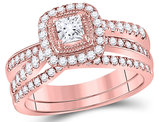 1.00 Carat (Color G-H, I1) Princess Cut Diamond Engagement Ring Wedding Set in 14K Rose Pink Gold