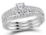 1.00 Carat (ctw G-H, I1) Diamond Engagement Ring Bridal Wedding Set in 14K White Gold