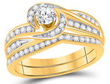 1/2 Carat (ctw H-I, I1-I2) Diamond Engagement Swirl Ring Bridal Wedding Set in 10K Yellow Gold