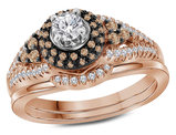 1/2 Carat (I1-I2) Champagne Cognac Diamond Engagement Ring Bridal Wedding Set in 14K Rose Pink Gold