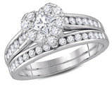 1.25 Carat (ctw H-I, I1-I2) Princess Cut Diamond Engagement Heart Ring Bridal Wedding Set in 14K White Gold