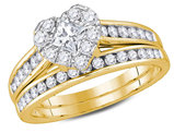 1.25 Carat (ctw H-I, I1-I2) Princess Cut Diamond Engagement Heart Ring Bridal Wedding Set in 14K Yellow Gold