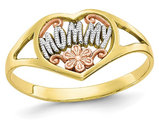 10K Yellow Gold Polished MOMMY Flower Heart Ring