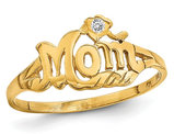 14K Yellow Gold Polished MOM Ring with Diamond Accent