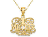 #1 Mother Pendant Necklace in 14K Yellow Gold with Chain