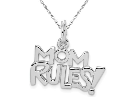 Sterling Silver Rhodium-Plated MOM RULES! Pendant Necklace with Chain