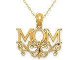 14K Yellow Gold Mom Charm Pendant Necklace with Chain