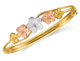14K Yellow, White , Pink Polished Plumeria Flower Bangle Bracelet