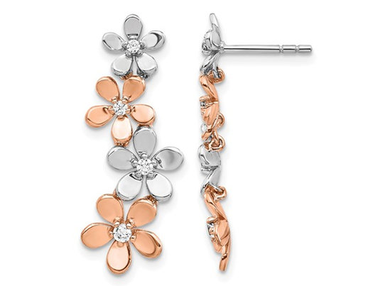 14K White and Rose Pink Gold Flower Dangle Earrings with Diamonds 1/5 Carat (ctw)