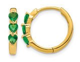4/5 Carat (ctw) Lab Created Emerald Heart Hoop Earrings in 14K Yellow Gold