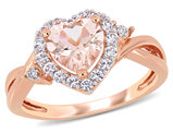 1.10 Carat (ctw) Morganite Heart Promise Ring in Rose Pink Sterling Silver Synthetic White Sapphires
