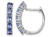1.80 Carat (ctw) Oval Tanzanite Hoop Earrings in Sterling Silver