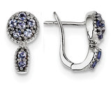 2/5 Carat (ctw) Tanzanite Huggie Earrings in Sterling Silver