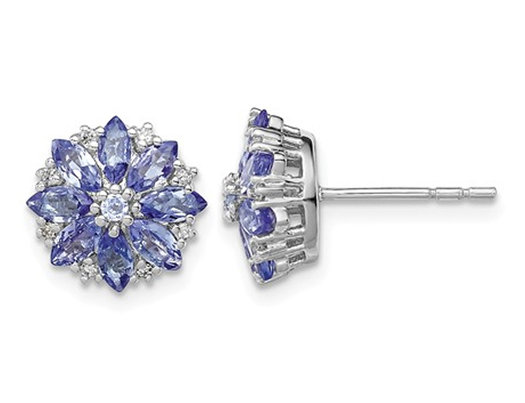 1.20 Carat (ctw) Tanzanite Flower Earrings in Sterling Silver with Accent Diamonds