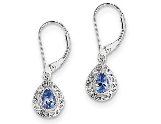 2/3 Carat (ctw) Tanzanite Drop Earrings in Sterling Silver