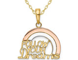 14K Yellow and Rose Gold - Follow Your Dreams - Charm Pendant  Necklace with Chain
