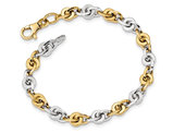 Men's Two Tone Polished 14K White and Yellow Gold Link Bracelet (7.5 Inches)