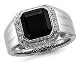 Men's Black Onyx Ring with Accent Diamonds in Rhodium Plated Sterling Silver