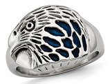 Men's Polished Stainless Steel Eagle Ring with Blue Ename