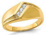 Men's 14K Yellow Gold Diamond Ring 1/5 Carat (ctw H-I, I2-I3)