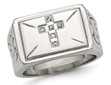 Men's Stainless Steel 1/20 Carat (ctw) Diamond Cross Textured Rings