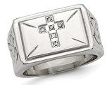 Men's Stainless Steel 1/20 Carat (ctw) Diamond Cross Textured Rings