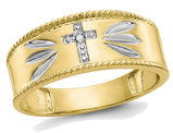 Men's 10K Yellow Gold Cross Rings wih Rhodium Plating