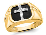 Men's 14K Yellow Gold Cross Rings with Black Onyx