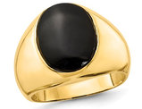 Men's 14K Yellow Gold Ring with Oval Black Onyx