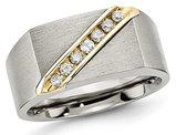 Men's Titanium Brushed Diamond Wedding Band 1/5 Carat (ctw)