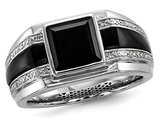 Men's Black Onyx Ring with Accent Diamonds in Black Rhodium Plated Sterling Silver