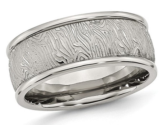 Men's Stainless Steel 9mm Textured Wedding Band with Rounded Ridge