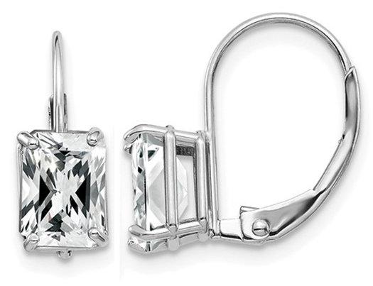 7x5mm Emerald Cut Synthetic Cubic Zirconia (CZ) Leverback Earrings in in 14K White Gold