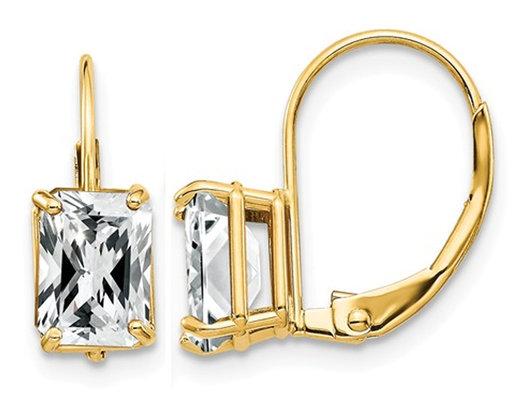 7x5mm Emerald Cut Synthetic Cubic Zirconia (CZ) Leverback Earrings in 14K Yellow Gold