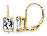 7x5mm Emerald-Cut Cubic Zirconia (CZ) Leverback Earrings in 14K Yellow Gold