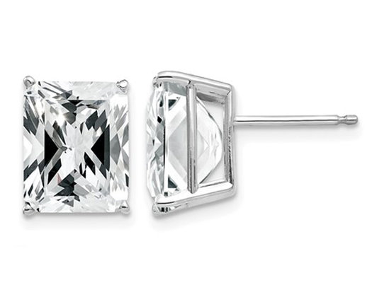 10x8 Emerald Cut Synthetic Cubic Zirconia (CZ) Solitaire Stud Earrings in 14K White Gold