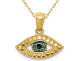14K Yellow Gold Blue Enamel Evil Eye Charm Pendant Necklace with Chain