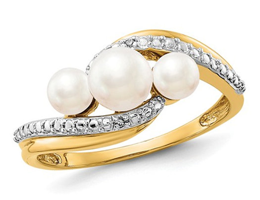 14K Yellow Gold Three Stone Freshwater Cultured White Pearl Ring with Accent Diamonds