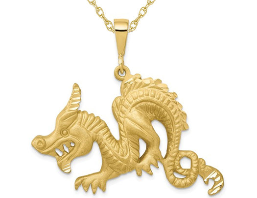 10K Yellow Gold Dragon Charm Pendant Necklace with Chain