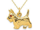 Scottie Dog Charm Pendant Necklace in 14K Yellow Gold with Chain