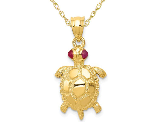 14K Yellow Gold Turtle Charm Pendant Necklace with Chain and Ruby Eyes