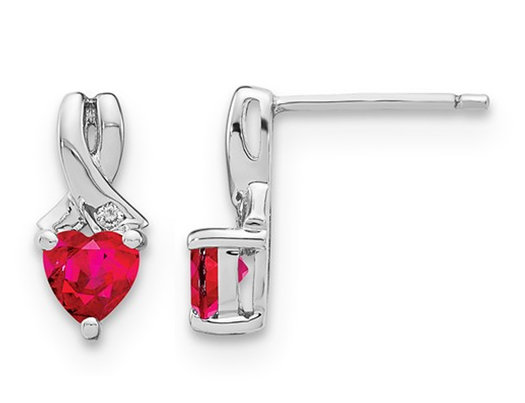 1.40 Carat (ctw) Lab Created Heart Ruby Post Earrings in Sterling Silver