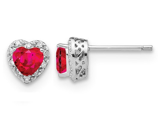 4/5 Carat (ctw) Lab Created Heart Ruby Stud Earrings in Sterling Silver with Accent Diamonds