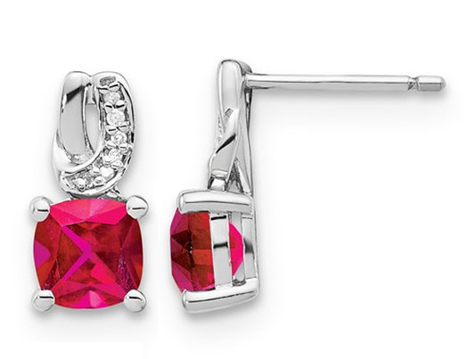 2.50 Carat (ctw) Lab Created Ruby Post Earrings in Sterling Silver